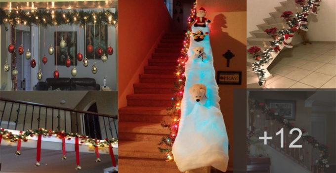 Aprende a decorar tus escaleras para la navidad con estas hermosas ideas!