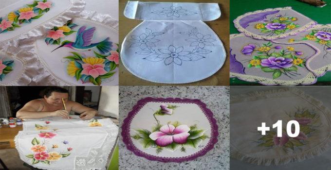 Curso gratis de manualidades: Como hacer juego de baño pintado en tela.