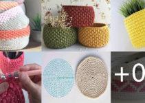 Cesta de almacenamiento en crochet