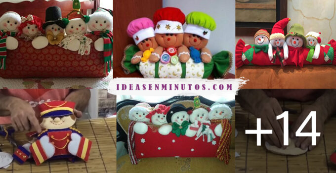 Cojines con personajes navideños