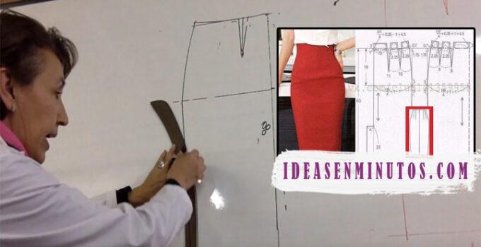 Aprende como hacer patron de falda tubo paso a paso